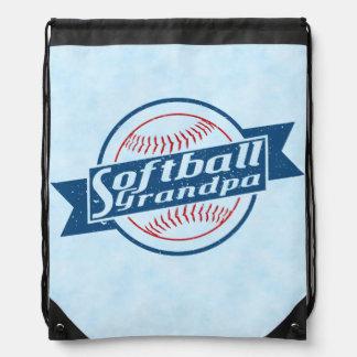 Softball Grandpa Drawstring Backpack Pack Bag