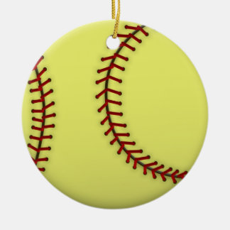 Softball-Green Double-Sided Ceramic Round Christmas Ornament