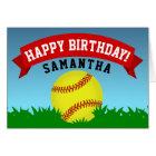 Softball Happy Birthday Card