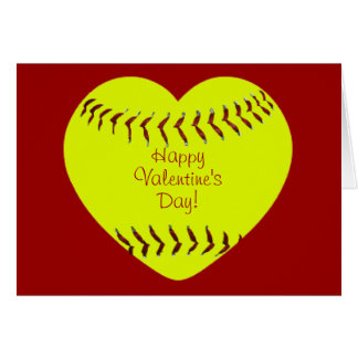 Softball Happy Valentines Day Card