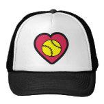 Softball Heart Mesh Hats