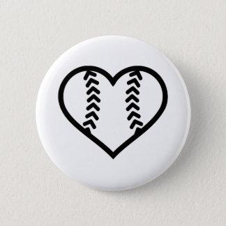 Softball heart pinback button
