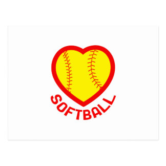 SOFTBALL HEART POSTCARD