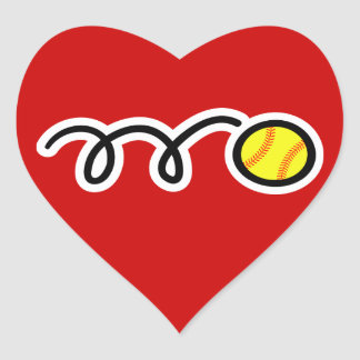 Softball Heart Sticker
