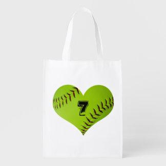 Softball heart tote bag.