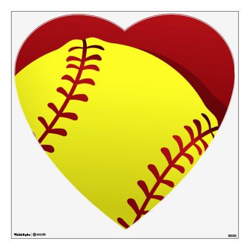 Softball Heart Wall Decal