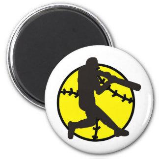 Softball Hitter 2 Inch Round Magnet