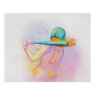 Softball Hitter Watercolor Poster