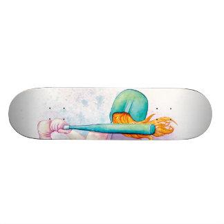 Softball Hitter Watercolor Skateboard Deck