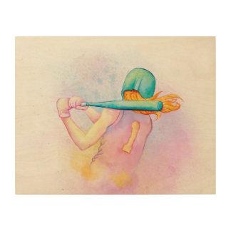 Softball Hitter Watercolor Wood Wall Art