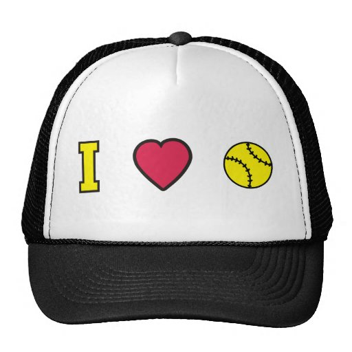 Softball I Heart Trucker Hat