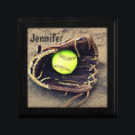 """Softball in a Glove Tile Box<br><div class=""""desc"""">A great little box for holding all your little treasures.  It features photograph of a yellow softball in a glove sitting in the dirt.  You customize the text at the top.</div>"""