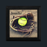 "Softball in a Glove Tile Box<br><div class=""desc"">A great little box for holding all your little treasures.  It features photograph of a yellow softball in a glove sitting in the dirt.  You customize the text at the top.</div>"
