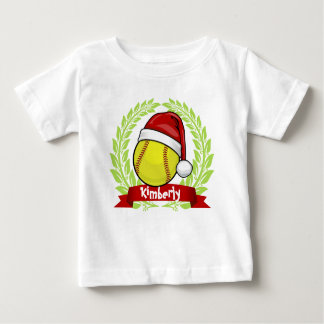 Softball In A Santa Hat Christmas Style Baby T-Shirt