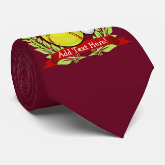 Softball In A Santa Hat Christmas Style Tie