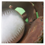 Softball in catcher's glove large square tile