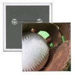 Softball in catcher's glove pinback button