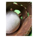 Softball in catcher's glove postcard