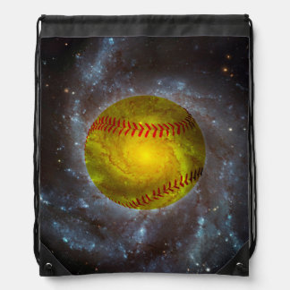 Softball in Space Unique Drawstring Backpack