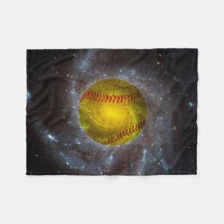 Softball in Space Unique Softball Fleece Blanket