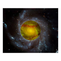 Softball in Space Unique Softball Poster