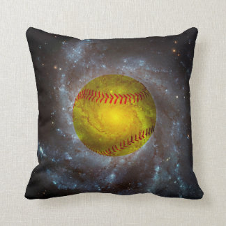 Softball in Space Unique Softball Throw Pillow