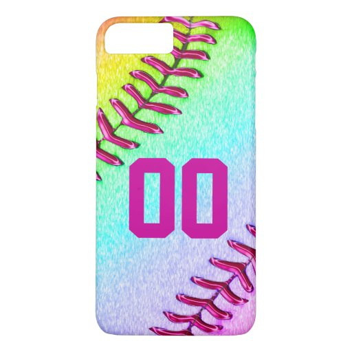 Softball iPhone 7 Plus Case with Jersey Number