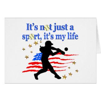 SOFTBALL IS MY LIFE USA PATRIOTIC DESIGN CARD