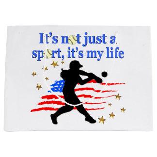 SOFTBALL IS MY LIFE USA PATRIOTIC DESIGN LARGE GIFT BAG