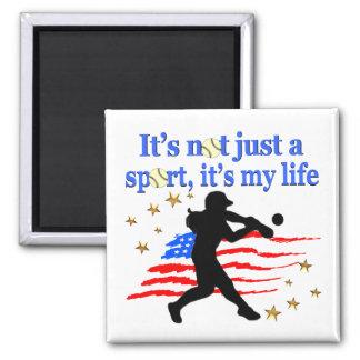 SOFTBALL IS MY LIFE USA PATRIOTIC DESIGN MAGNET