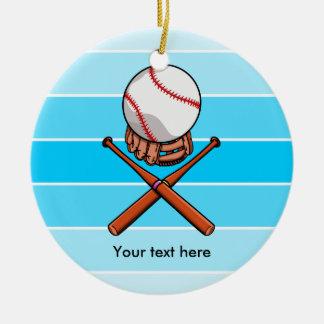 Softball Jolly Roger With Blue Stripes Ceramic Ornament