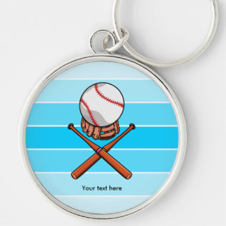 Softball Jolly Roger With Blue Stripes Keychain