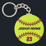 "Softball Keychain for Sports Fans and Athletes<br><div class=""desc"">A cool and colorful sports theme keychain as gift for families and friends. Softball keychain with personalized name and player number. A great souvenir for softball coach,  captain and players. You can customize the ball color to the color you want.</div>"