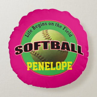 Softball Life on Pink and Green with Text Round Pillow