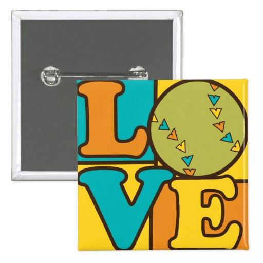 Softball Love 2 Inch Square Button