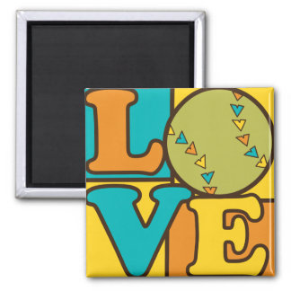 Softball Love 2 Inch Square Magnet