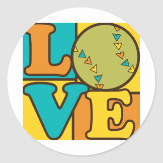Softball Love Classic Round Sticker