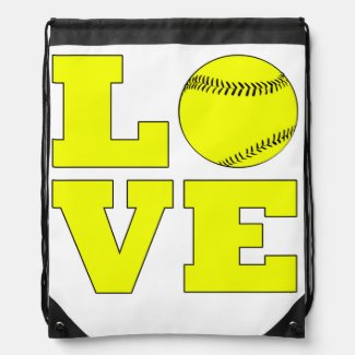 Softball Love Drawstring Bag
