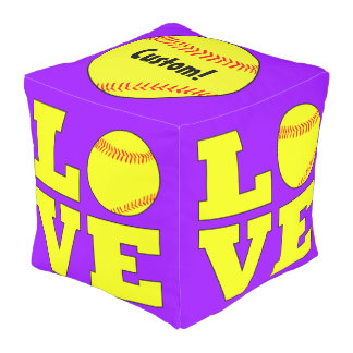 Softball LOVE Indoor/Outdoor Beanbag Square Pouf