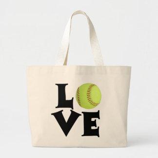 Softball Love Large Tote Bag