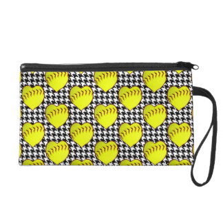 Softball Love Pattern On Houndstooth Wristlets