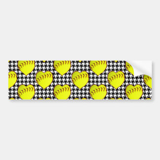 Softball Love Pattern On Houndstooth Bumper Sticker