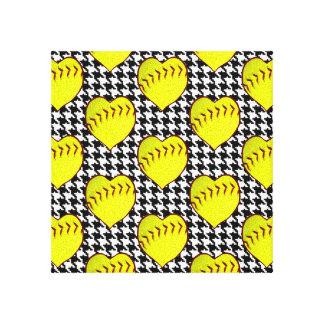 Softball Love Pattern On Houndstooth Canvas Print