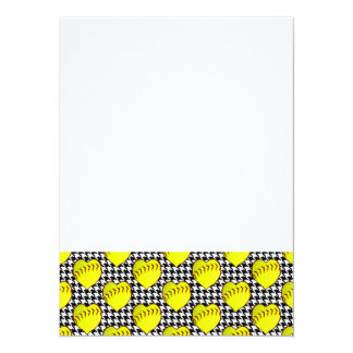Softball Love Pattern On Houndstooth Card