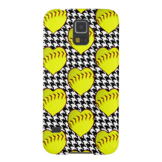 Softball Love Pattern On Houndstooth Case For Galaxy S5