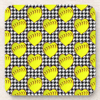 Softball Love Pattern On Houndstooth Drink Coasters