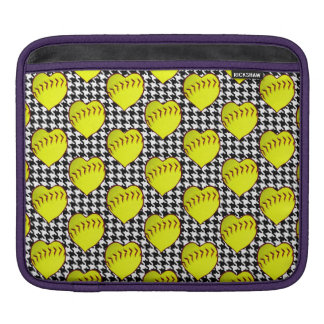Softball Love Pattern On Houndstooth iPad Sleeve