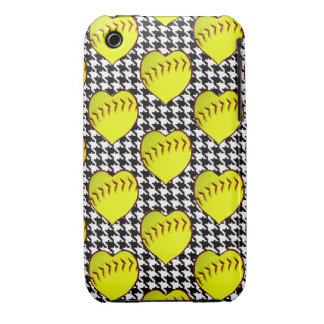 Softball Love Pattern On Houndstooth iPhone 3 Cover