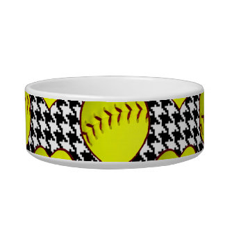 Softball Love Pattern On Houndstooth Pet Food Bowls