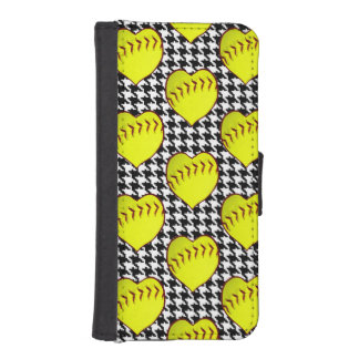 Softball Love Pattern On Houndstooth Phone Wallets